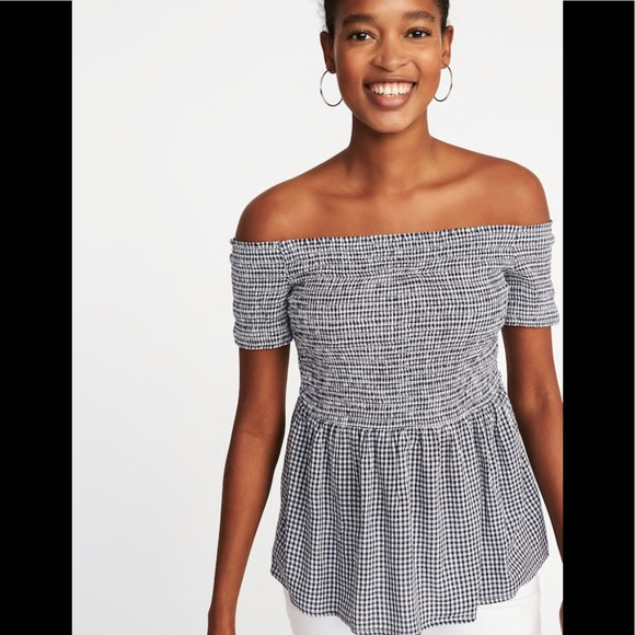 c28f5679513 Off the shoulder gingham top. M_5b0fccb63afbbdfb5492e903. Other Tops you  may like. Old Navy Blouse